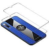 HAOYE Funda para Xiaomi Mi A3 + 2 Cristal Templado, Anillo de 360 Grados de Metal [Estilismo de Tela de Lona Tejida] Carcasa con Marco de Silicona Suave TPU contra Caídas. Azul