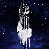 Dremisland Blanco Atrapasueños Hecho a Mano Medio circulo Estrella Lunar Design con Plumas Bohemio Colgante de Pared Decoración del hogar Adorno Festival Artesanía Regalo (Blanco)