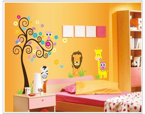 Très Beau hibou arbre/hibou Sticker mural 1,20 m x 0,90 m