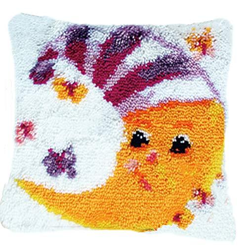 Lee My Kit para cojín de Ganchillo Cojín de Nudos para niños y Adultos, para Hacer uno Mismo,Moon,43x43cm/17x17inch