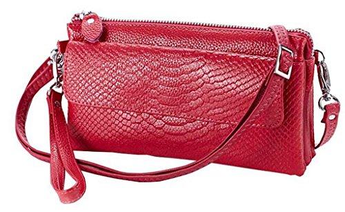 Schwarzer Freitag Angebote 2016 valentoria® Soft Leder Krokodil Clutch Organizer Handtasche Schulter Crossbody Wrislet Tasche, Handtasche für Frauen mit Schultergurt rose