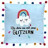 Die Geschenkewelt 46413 Kleines Plüschkissen Regenbogen, Zierkissen mit bunten Pompons, 25 cm x 25...