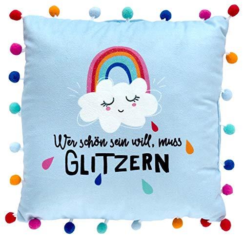Die Geschenkewelt 46413 Kleines Plüschkissen Regenbogen, Zierkissen mit bunten Pompons, 25 cm x 25 cm, Hellblau