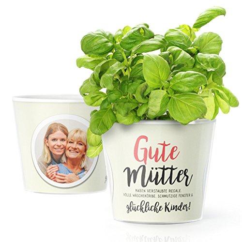 Facepot Blumentopf (ø16cm) | Geschenk für Mama mit Rahmen für Zwei Fotos (10x15cm) | Gute Mütter haben verstaubte Regale, volle Wäschekörbe, schmutzige Fenster & glückliche Kinder