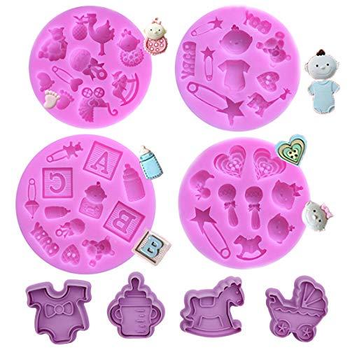 SUNSK Stampi in Silicone Tagliabiscotti Set per Decorazione Torte formine per Biscotti Baby Party Fai da Te Strumenti da Forno per Bambini 8 PCS