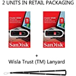 SanDisk Cruzer Glide 16GB SDCZ60-016G (2 Pack) Cruzer USB 2.0 Flash Drive Jump Drive Pen Drive CZ60 - Bonus Wisla Trust (TM) Lanyard