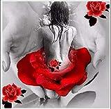 N/O Pintar por Numeros para Adultos Niños Mujer en la Palma DIY Pintura Digital por números Modern Wall Art Canvas Painting Gift para Niños Decoración -16x20 Pulgadas con Marco