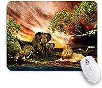 ECOMAOMI 可愛いマウスパッド 野生動物の象のヒョウ 滑り止めゴムバッキングマウスパッドノートブックコンピュータマウスマット