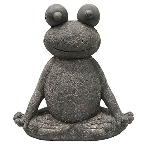 SVITA Yoga Frosch Garten-Figur Feng Shui Statue Meditation Reiki Outdoor Skulptur (51 cm, Lotus 2)