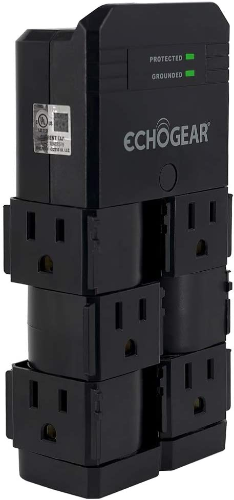ECHOGEAR On-Wall Surge Protector with 6 Pivoting AC Outlets & 1080 Joules of Surge Protection - Low Profile Design Installs Over Existing Outlets to Protect Your Gear (Black)
