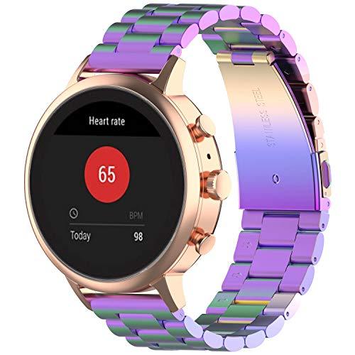 Fit for Fossil Gen 4 Q Venture HR Watch Bands for Women Men, 18mm Metal Business Replacement Band Straps Wristbands Bracelet for Ticwatch C2 (Rose Gold), Garmin Vivoactive 4s (Multicolor)