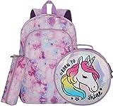 Girls Unicorn Backpack School Bag with Lunch Box Backpack for Girls for Elementary Preschool Bookbag