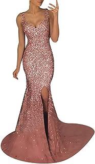 Mymyguoe Vestido Sexy con Tirantes en Forma para Mujer Vestido de Fiesta Elegante con Lentejuelas de Encaje Sexy de Mujer con Espalda Descubierta y Escote en V Hueco Largo