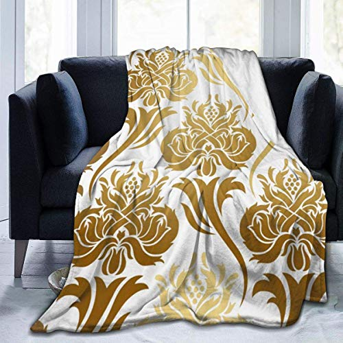 """Yuanmeiju Fleece Throw Manta Damask Ombre Abstract Floral East Style Lightweight Cute Soft Mantas For Sofa Chair Bed Office Travelling Camping 50""""x40"""""""
