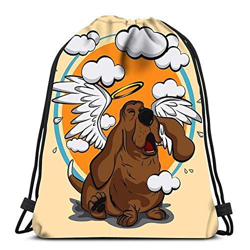 Bigtige Mochila con cordón Bolsa Mochila Deportiva de Gran Capacidad Mochila Escolar 14.5 `` x 16.5 '' Pulgadas Dog with Angel Wings