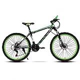 26in Acero Al Carbono Bicicleta De Montaña Hombre,Velocidad Bicicleta Suspensión Delantera Bicicleta Urbana,MTB Frenos De Doble Disco Green-26in 21 Velocidad