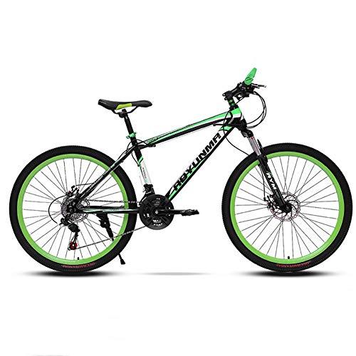 26in Acciaio Al Carbonio Mountain Bike Uomo,Velocità Bici Sospensione Anteriore Biciclette Da Strada,Bicicletta Sportiva Da Montagna Freni A Doppio Disco Verde-26in 27 Velocità