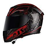 Casco Bluetooth Modular Choque Motocicleta,Casco de Motocicleta de Carreras de Cara Completa Aprobado por ECE con Visera Solar para Hombres Y Mujeres Adultos C,XXL