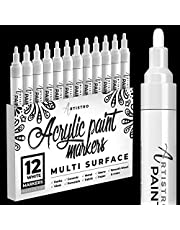 White Paint Pens for Rock Painting, Stone, Ceramic, Glass, Wood, Tire, Fabric, Metal, Canvas. Set of 12 White Marker for Acrylic Painting, Water-based, Medium Tip