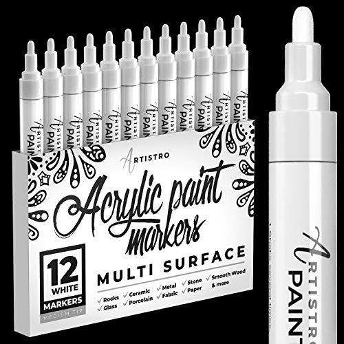 Rotuladores de pintura blanca para pintura en roca, piedra, cerámica, vidrio, madera, juego de 12 rotuladores de pintura acrílica de punta media