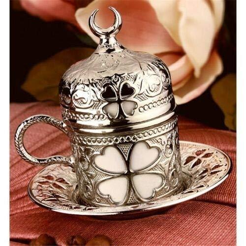 Authentieke Turkse koffie Espresso kop en schotel porselein Copper Cover Elder Flower (Color : Antique Copper)