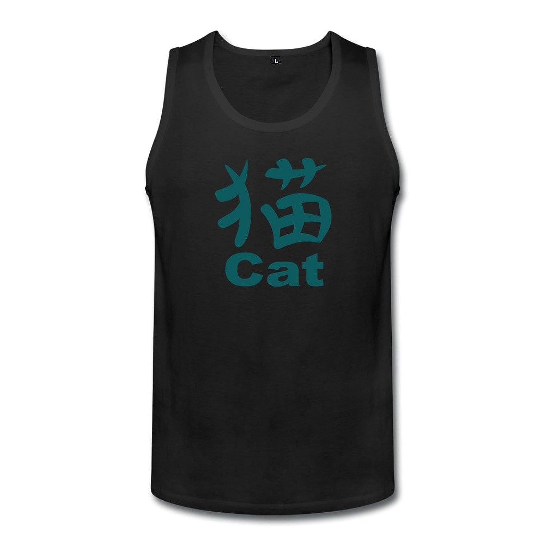 智航 メンズ 猫と英語 タンクトップ 丸首 綿 ロゴ Uネック