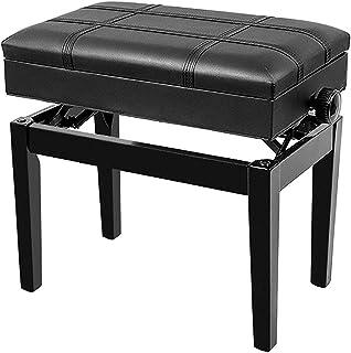 Gprice Solo stołki klawiaturowe, 10 cm regulowana wysokość ławka z konstrukcją z litego twardego drewna i schowkiem pod si...