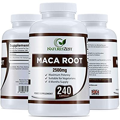 Maca Root Capsules 2500mg, 240 Capsules (8 Month Supply) by Natures Zest, Capsules not Maca Root Tablets