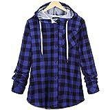 2018 Hoodie,Women's Long Sleeve Plaid Cardigan Jacket Blouse Overcoat by-NEWONESUN Blue
