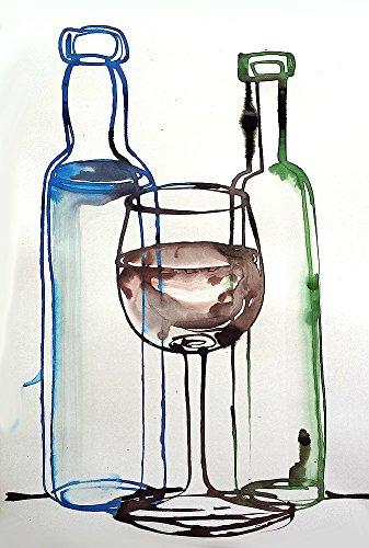 Zeichnung Stillleben von Flaschen und Weingläser 2