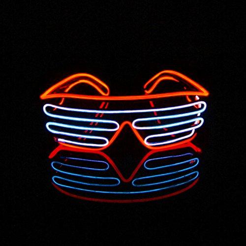 LERWAY Party Brillen Spielzeug Zwei Farben EL Neon Draht Brille LED Partybrillen Sonnenbrille Halloween Weihnachtsdekoration Neujahr Club Bar Disco Kostüm Geburtstag Dekoration (Weiß+Rot)