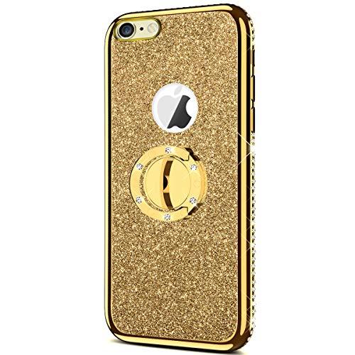 QPOLLY - Carcasa compatible para iPhone 6/6S con purpurina de silicona con brillantes, color Bling Or