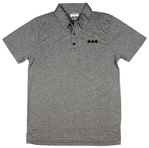 Bioworld Batman Logo Charcoal Polyester Mens Polo Shirt (Small)
