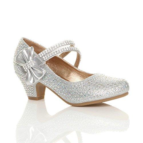 Scarpe Bambina Mary Jane Matrimonio Elegante Party Damigella d'Onore Numero 2