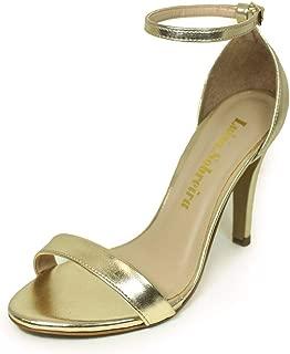 Sandália Salto Alto Fino Luiza Sobreira Couro Gold/Dourado Mod. 1374-2