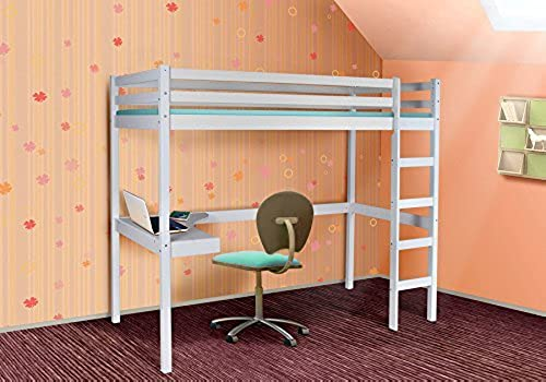 Eternity-M l24 Hochbett Spielbett - TAPPI - Kinderbett Jugendbett Etagenbett mit Schreibtisch + Rollrost
