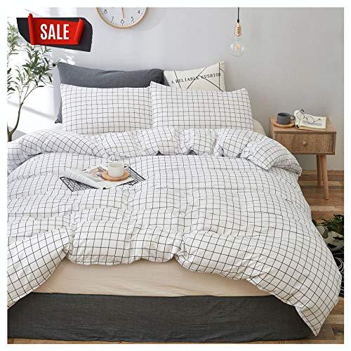 YZZ COLLECTION Queen Bedding Duvet Cover Set, Premium Microfiber,Grid Pattern On Comforter Cover-3pcs:1x Duvet Cover 2X Pillowcases,Comforter Cover with Zipper Closure