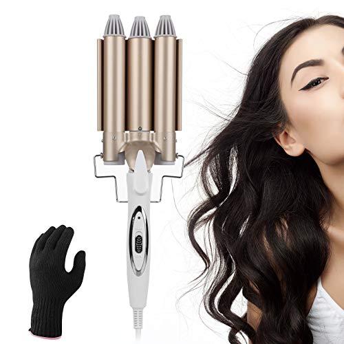 rizador de 3 pelo , rizador de cerámica Sendowtek de 25 mm, temperatura de calentamiento rápido ajustable, rizador largo con guantes resistentes al calor