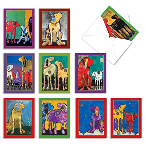 The Best Card Company - 10 Blank Dog Greeting Cards for All Occasions (4 x 5.12 Inch) - Painted Pups M3320