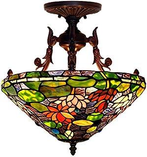 16インチの天井灯、蓮の池の月光が付いているティファニー様式の天井灯のステンドグラスのランプ、レトロな居間の装飾ライトE27、Max60w