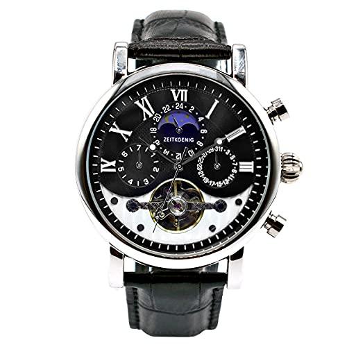 ZEITKOENIG Garibaldi II - Reloj automático para hombre, caja de acero inoxidable con correa de piel, diámetro de 42 mm, elegante e informal