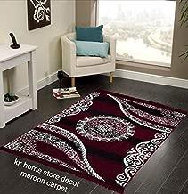 "Kk Home Store Decor Royal Look Carpet - |60"" inch x 84"" inch | 150 cm x 210 cm | 5 Feet x 7 Feet |-Maroon for Living Room Bad Room Runner Guest Room mat durri for Yoga Jim Office School tample"