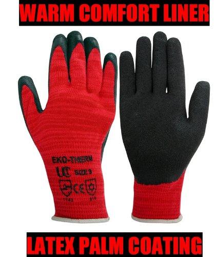 UCI EKO-THERM doublé chaud Gants de travail avec revêtement Latex Rouge Taille M