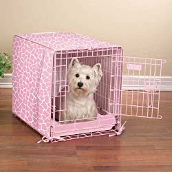 small dog crate cover and bed set in pink