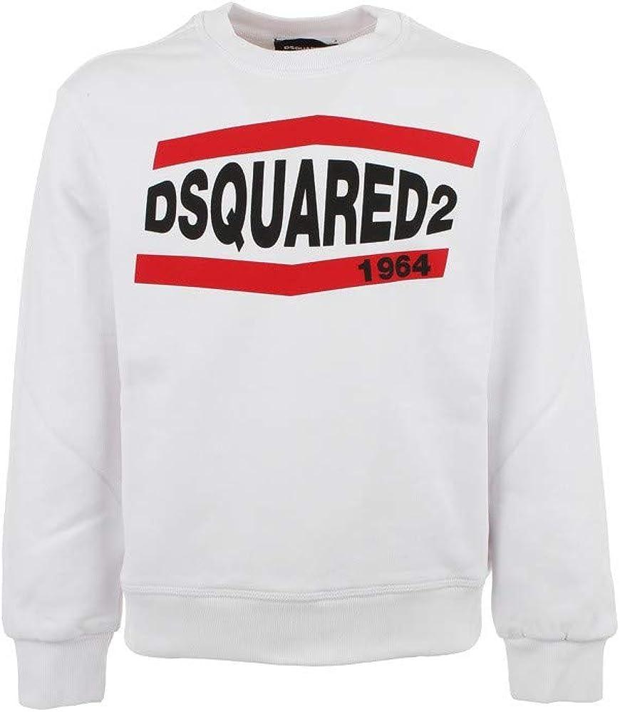 Dsquared2, felpa bianca per ragazzo con logo del brand stampato sul fronte,100% cotone DQ0208D002Y