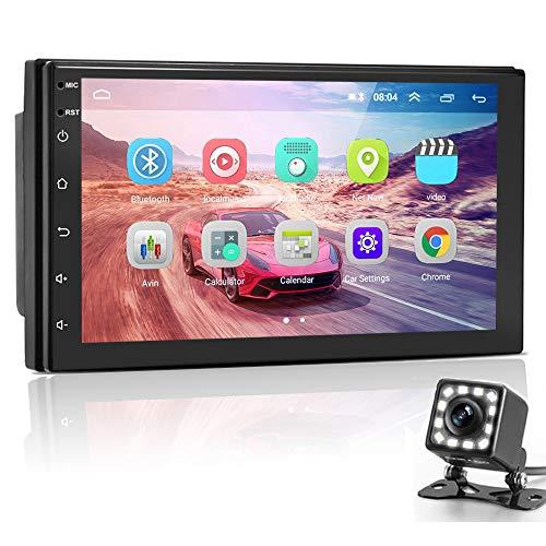 Hikity Android RDS Radio de Coche 2 DIN Navegación GPS 7 Pulgadas HD Pantalla Táctil Sistema Multimedia de Internet para Coche con Enlace Espejo FM WiFi USB + Cámara Visión Trasera
