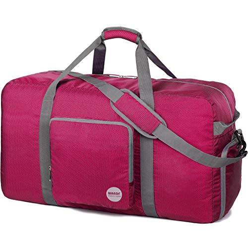 WANDF Faltbare Reisetasche 60-100L Superleichte Reisetasche für Gepäck Sport Fitness Wasserdichtes Nylon von WANDF (Rosa, 120L)