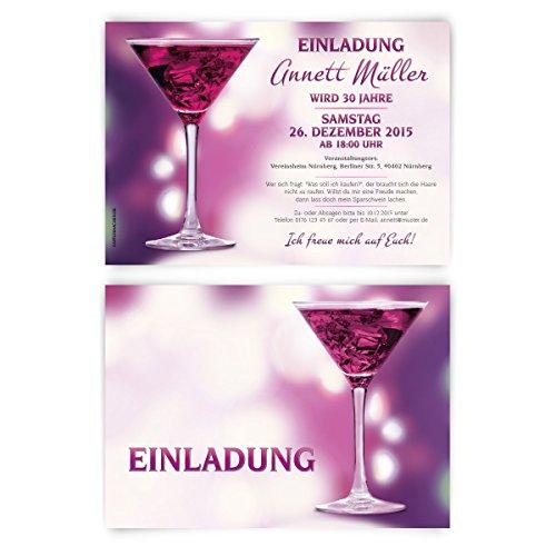 Einladungen zum Geburtstag (30 Stück) Cocktail Ladies Night Mädelsabend Einladungskarten