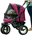 Pet Gear NO-ZIP Double Pet Stroller, Zipperless Entry, for Single or Multiple Dogs/Cats, Plush Pad + Weather Cover Included, Large Air Tires, Boysenberry