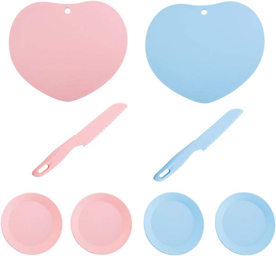 2 Piezas Cuchillo de Plástico para Niños, 2 Piezas Tabla de Cortar de Plástico de Cocina, Juego de Cuchillos de Cocina, para Fruta, Pan, Pastel, Cuchillo de Lechuga